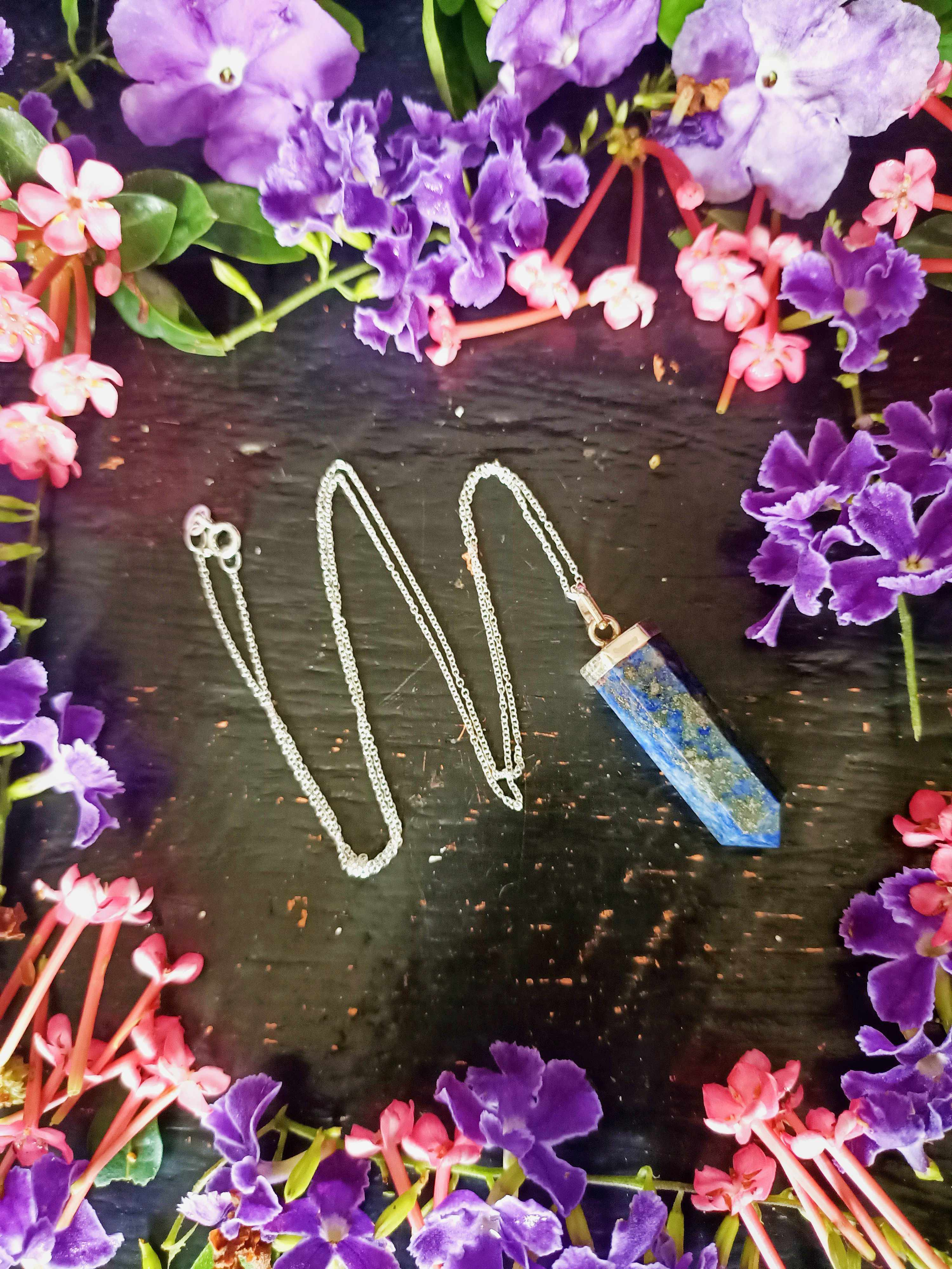 Sterling Silver Lapis Lazuli Point Necklace-Gypsy Divine-Gypsy Divine
